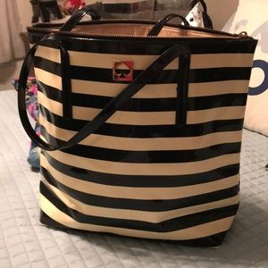 Kate Spade cream and black stripped tote